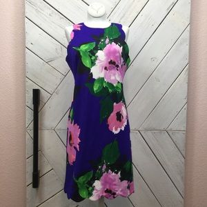 Vince Camuto  Floral Print Scallop Sleeve Dress
